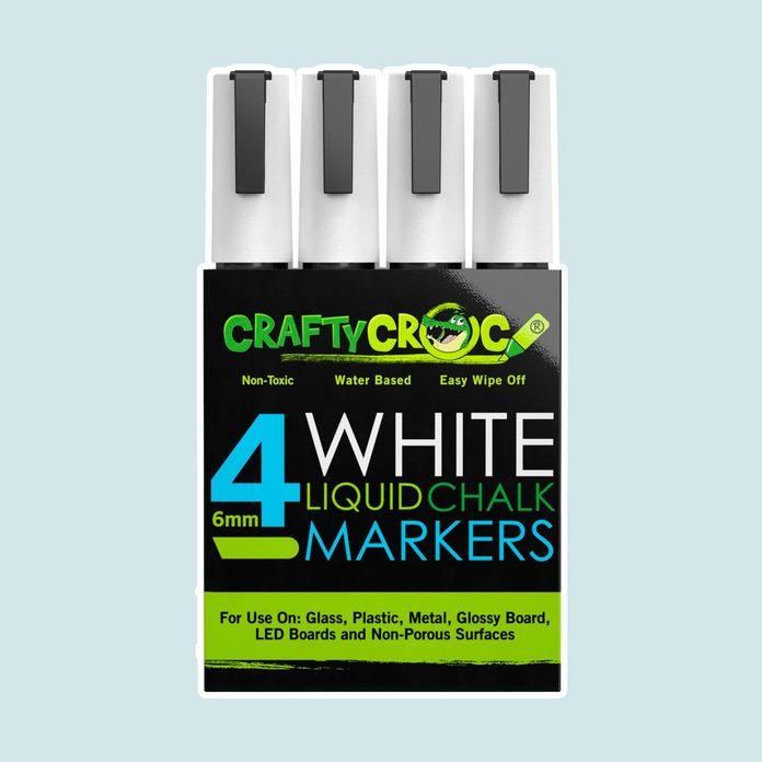 Crafty Croc 4 White Liquid Chalk Markers, 6mm Reversible Medium Tip