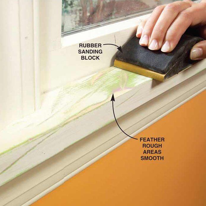 sanding block to prime trim paint