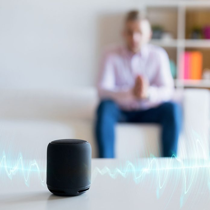 taking a phone call on a smart speaker