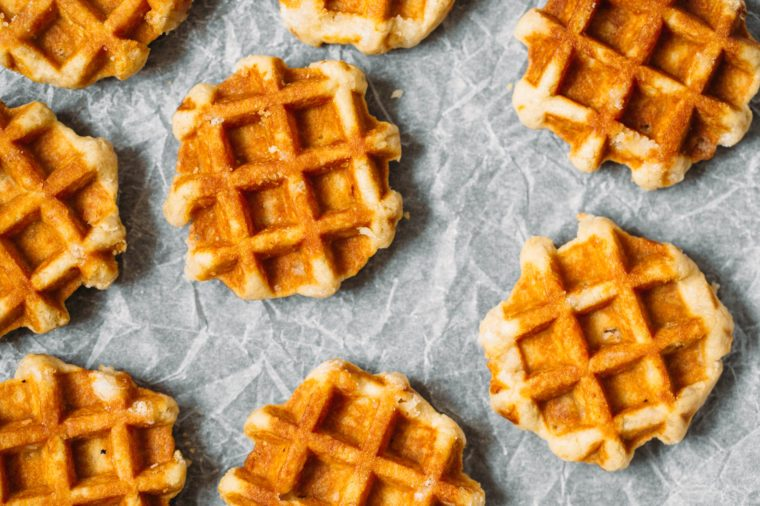 Belgian waffles background. Flat lay, top view