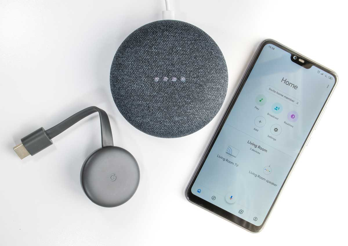 google home app with home mini and chromecast
