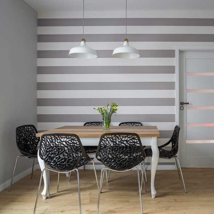 Dining room stripe featured wall