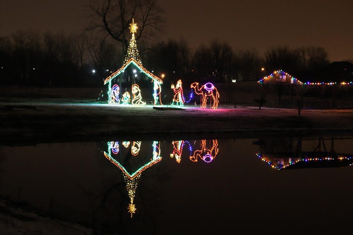 christmas lights nativity scene