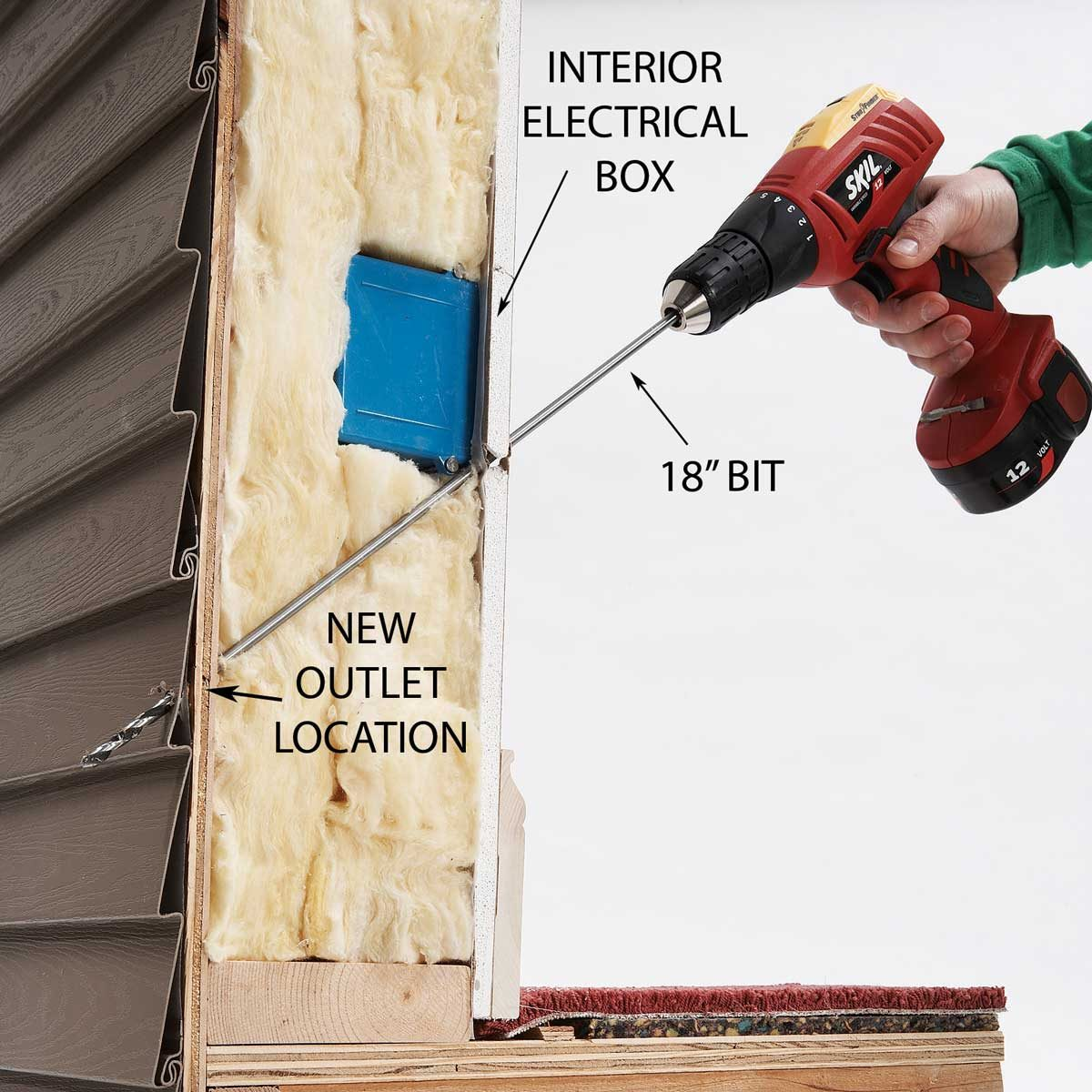 Drill Through the Exterior Wall