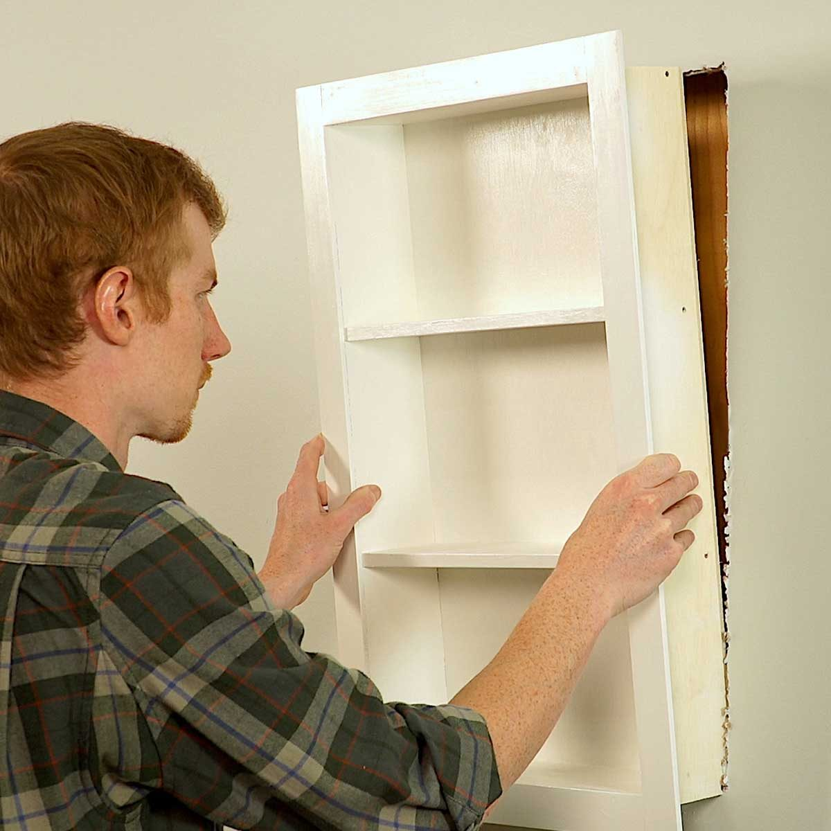 sliding mirror frame place and secure cabinet in the niche