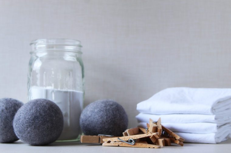 Eco friendly laundry supplies. Copy space.