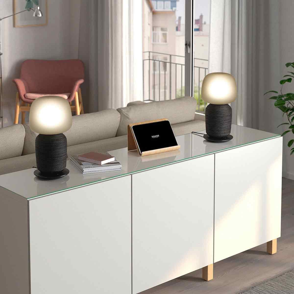 IKEA table lamp and Sonos wi-fi speaker