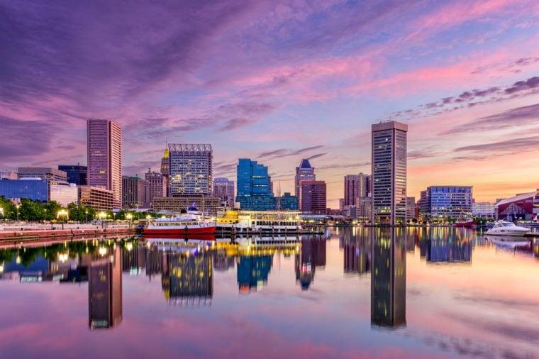 Baltimore, Maryland, USA skyline at the Inner Harbor.