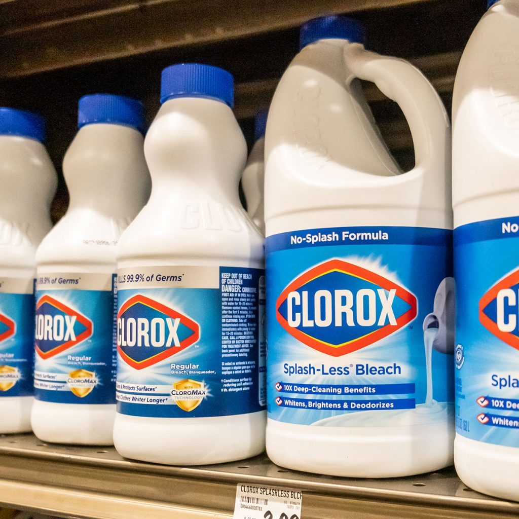 clorox bleach bottles on shelf