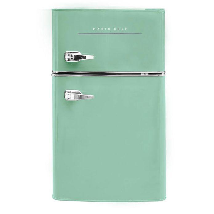 mint green retro style mini fridge