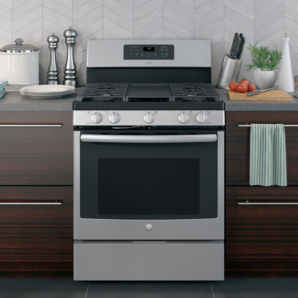 stainless steel convection oven with wide stove top and griddle