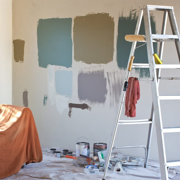 Paint samples painting a room