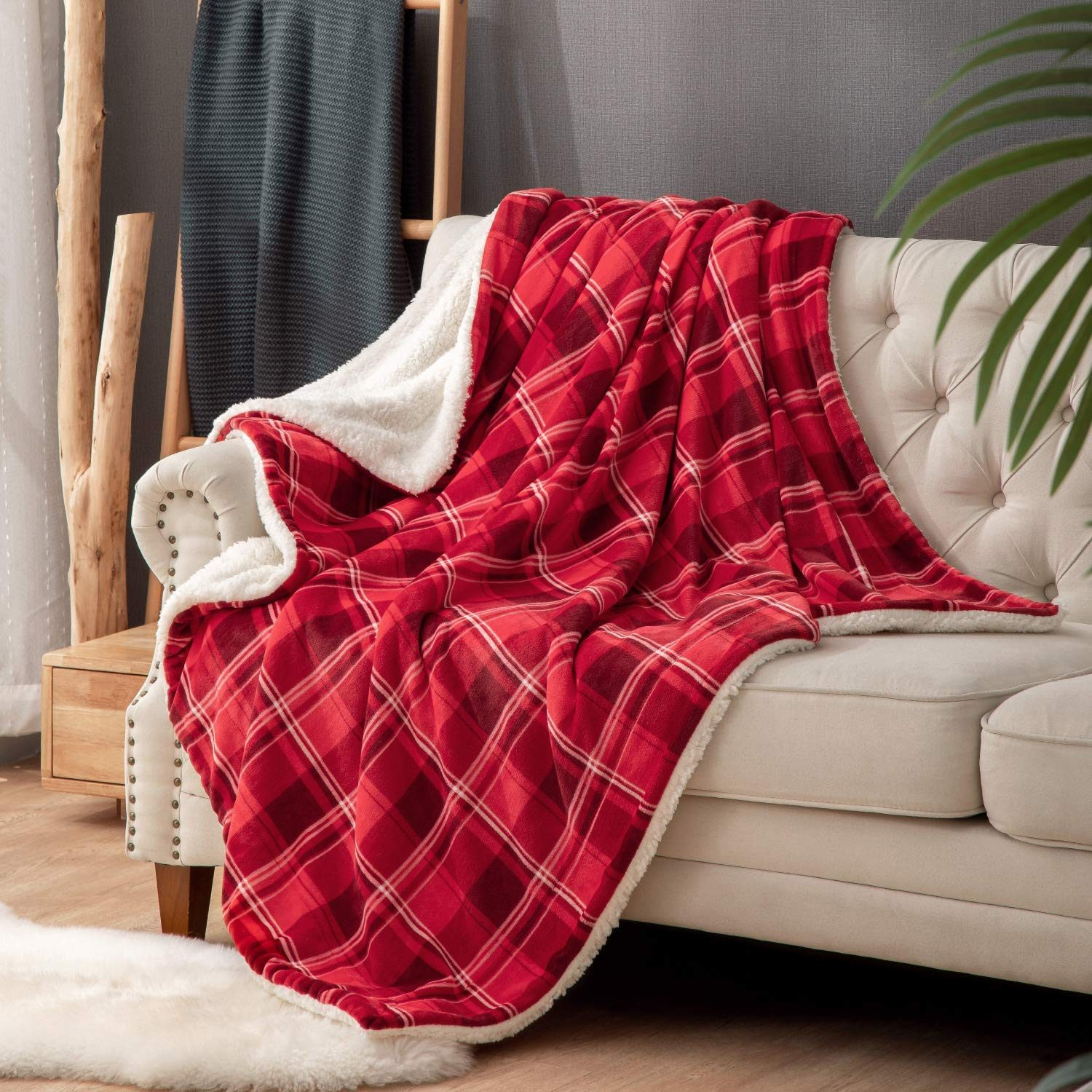 Sherpa Fleece Plaid Blanket