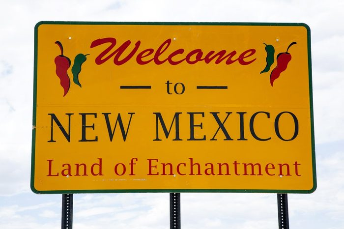 Welcome to New Mexico road sign at the state border