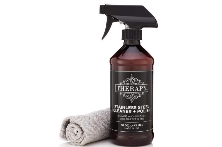 Therapy Premium Stainless Steel Cleaner & Polish - Includes Large Microfiber Cloth, 16 fl oz