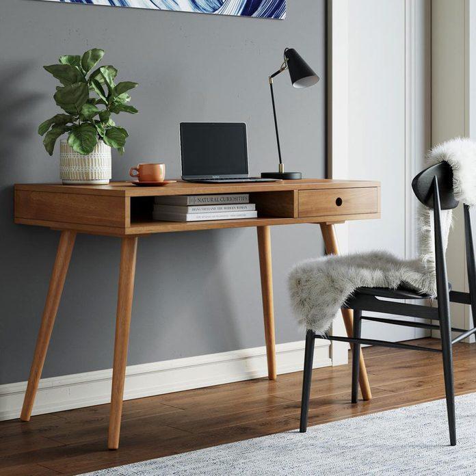 walnut mid-century desk