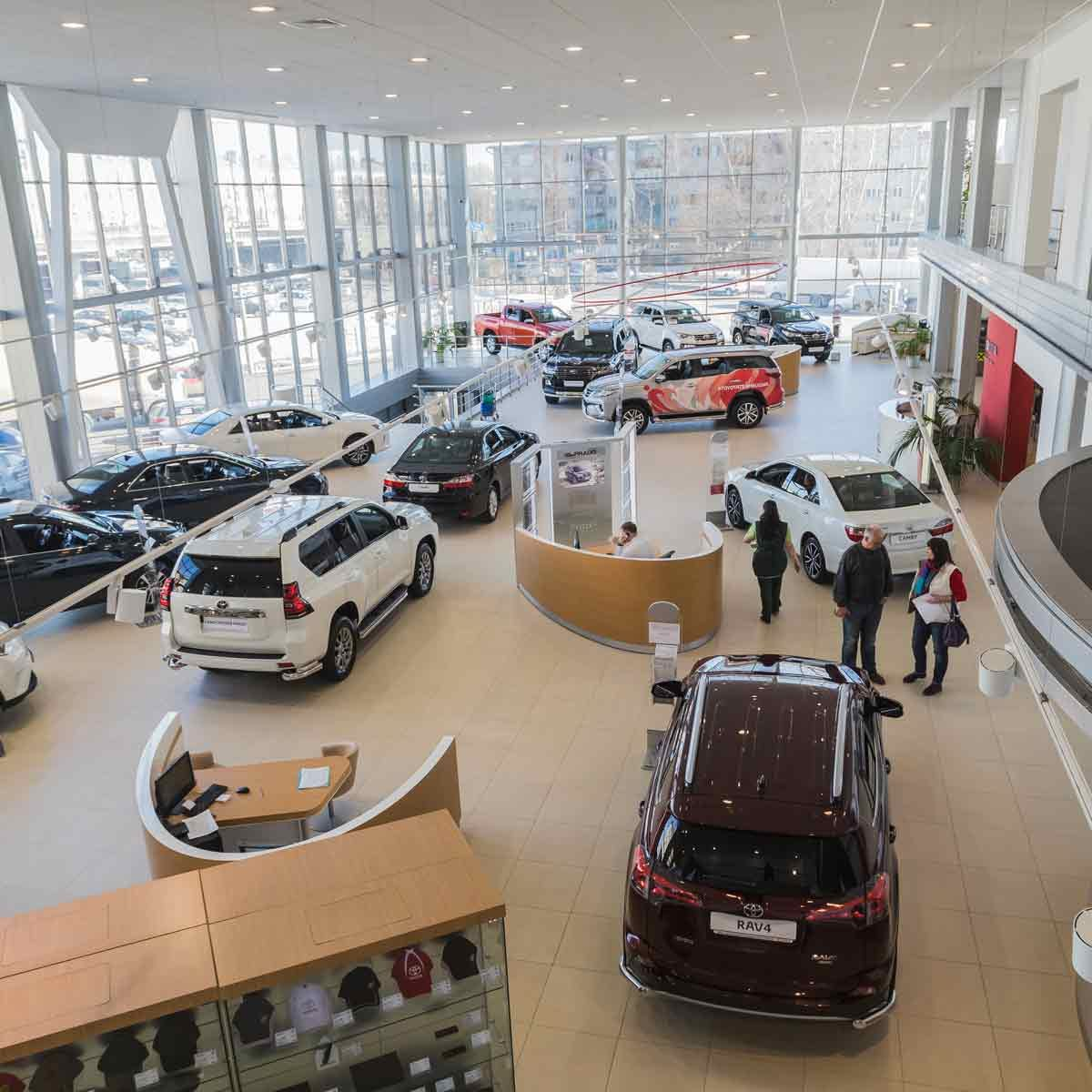 Cars-in-showroom-of-Toyota-dealership