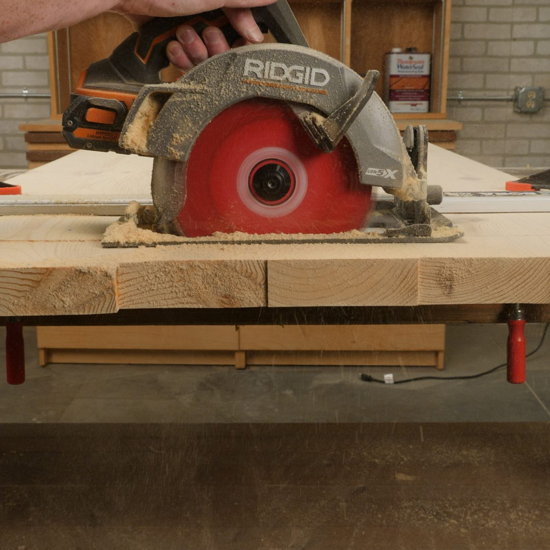 trim shelves with circular saw