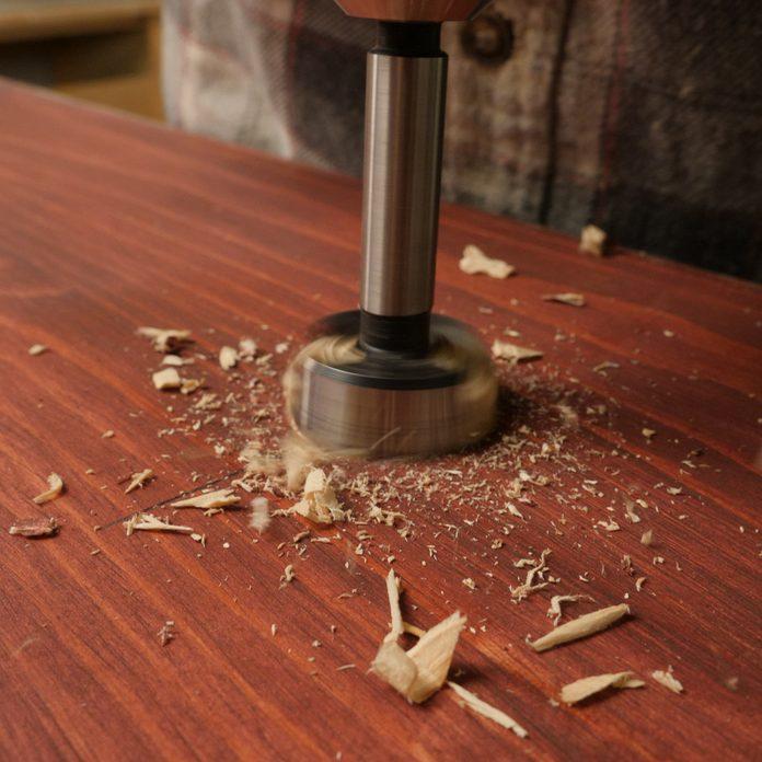drill holes on kitchen island shelf