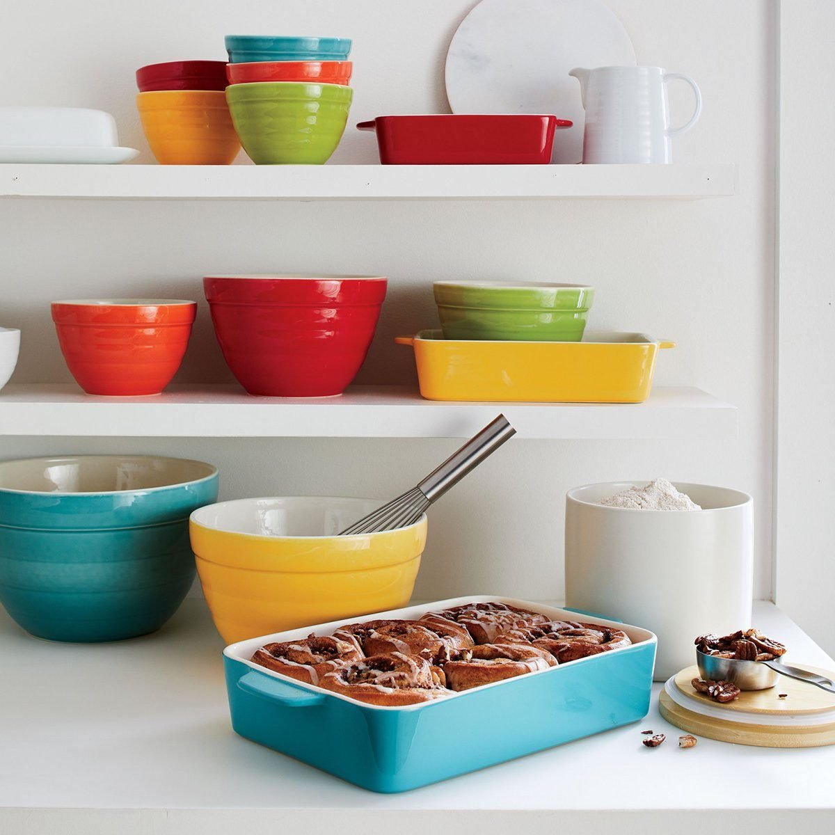Crate and Barrel bakeware in bright colors