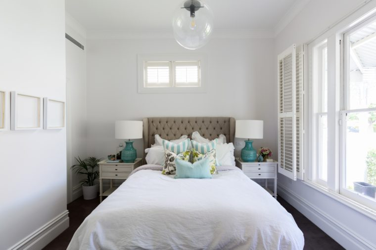 Beautiful feminine country styled master bedroom