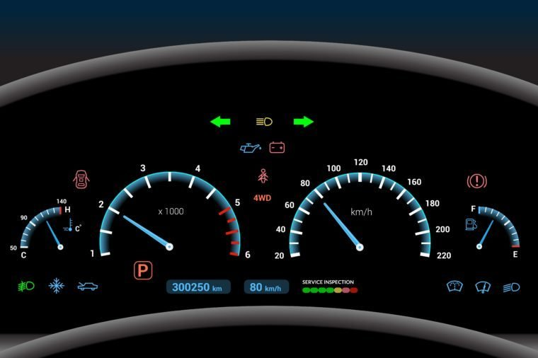 Car dashboard modern automobile control illuminated panel speed display vector illustration
