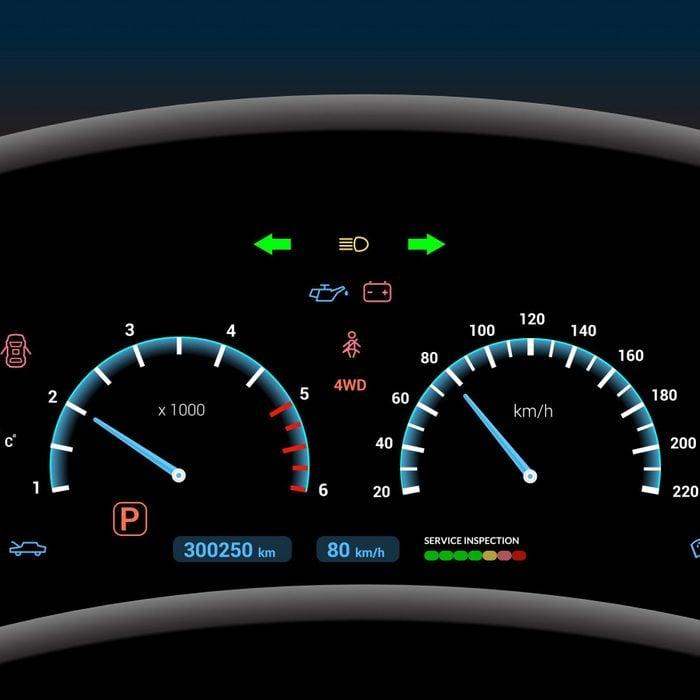 Car dashboard modern automobile control illuminated panel speed display vector illustration