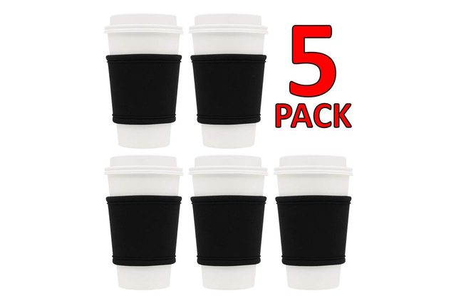 MOXIE Cup Sleeves – Premium Insulated Reusable Cup Sleeve for Coffee, Tea & Cold Drinks – One size fits all (5pk - Black)