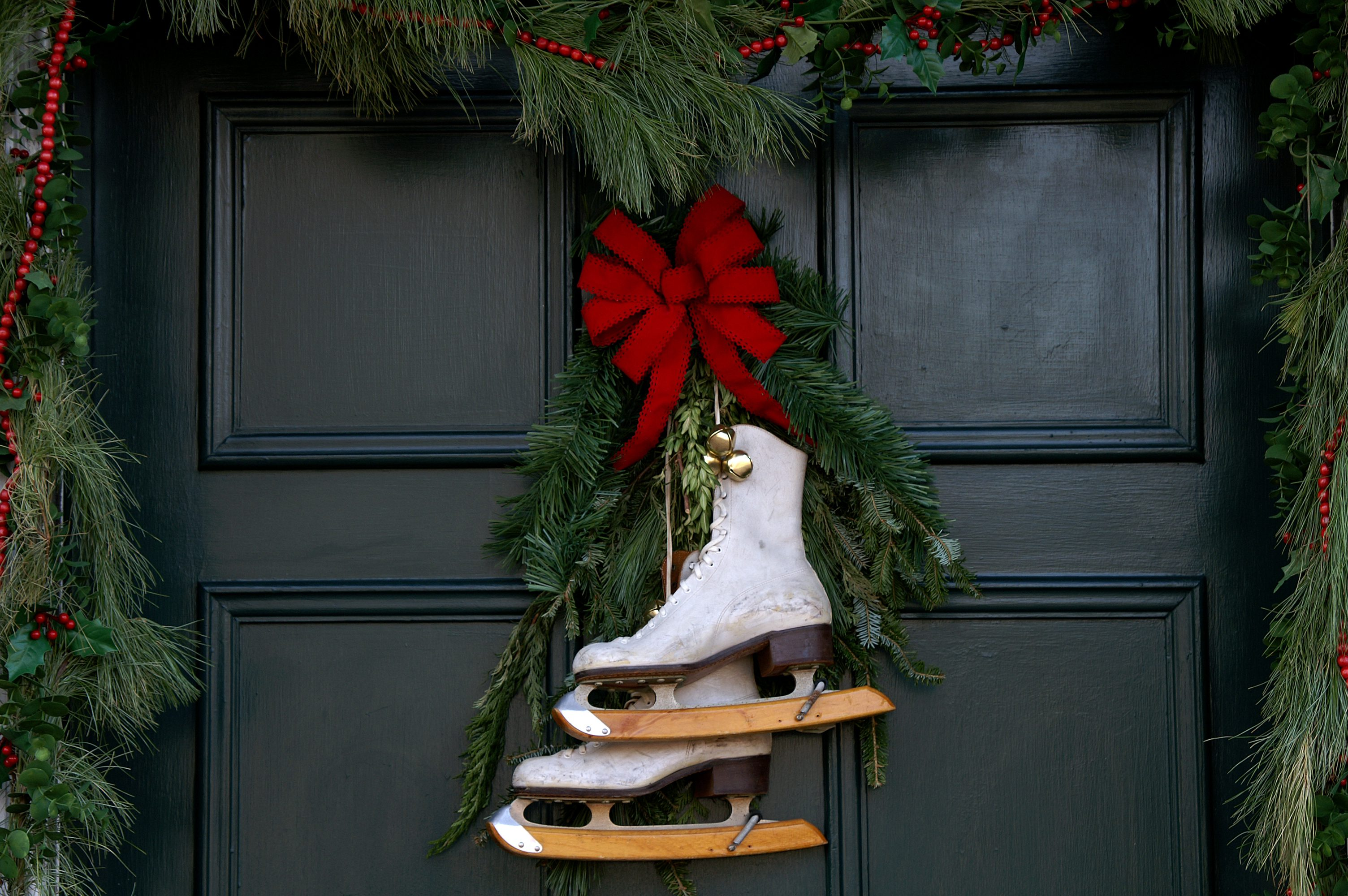 Christmas Door with Ice Skates