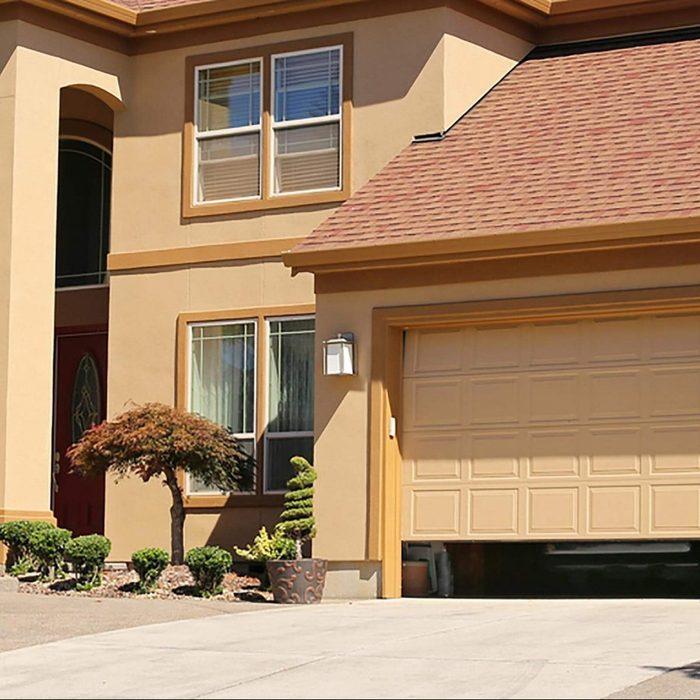 Open garage door in suburban family home