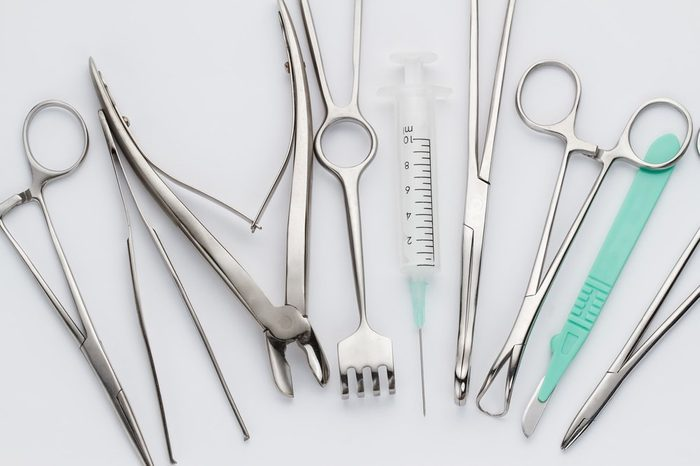 Overhead view of surgical instruments