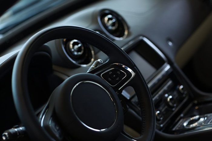 Interior view of car with black salon