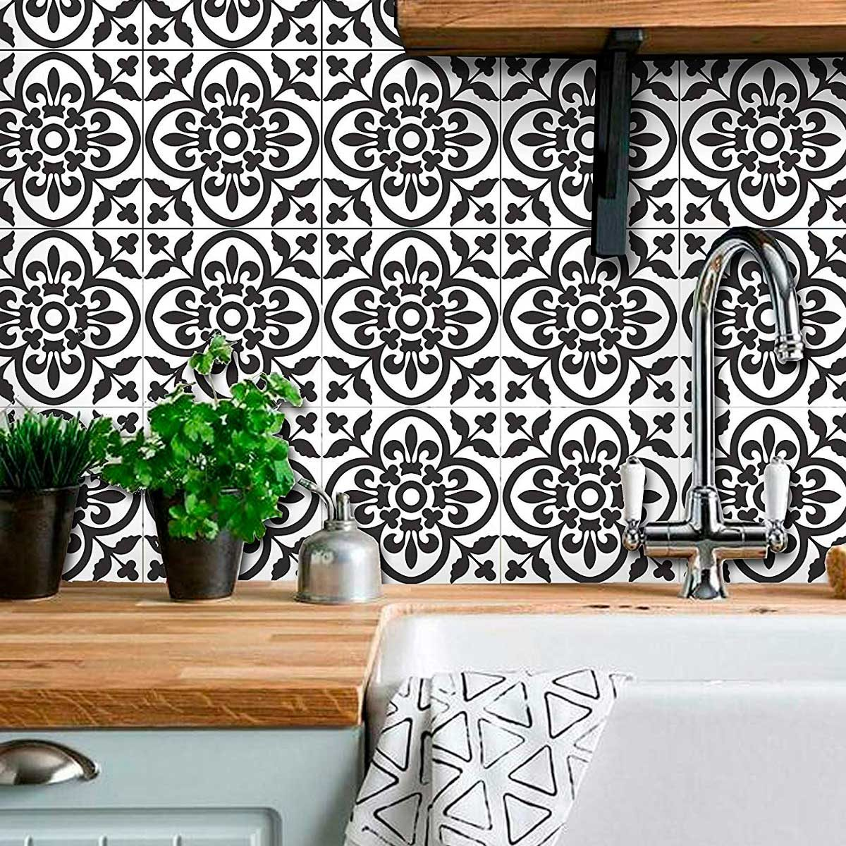 black and white tile stickers