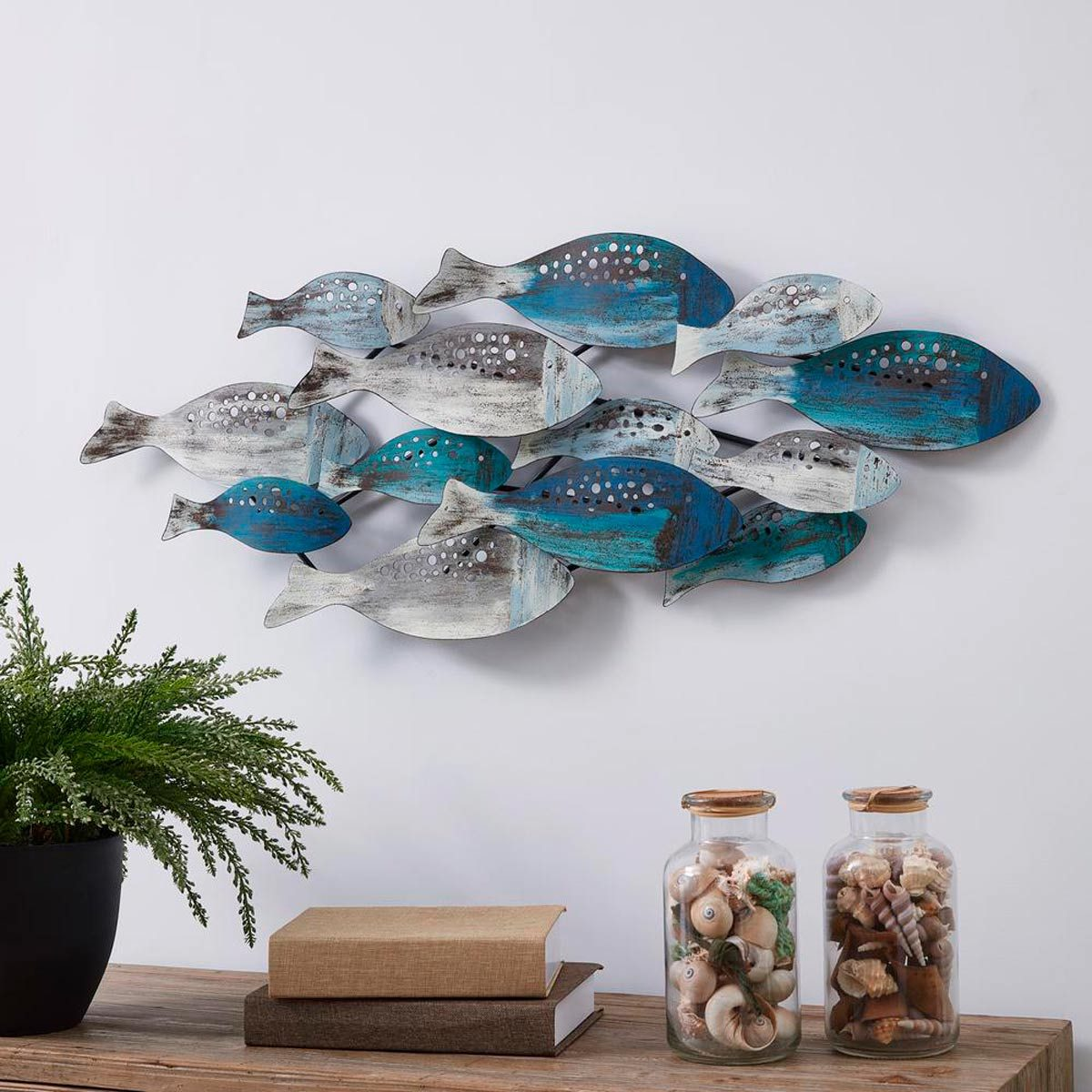 blue fish wall sculpture
