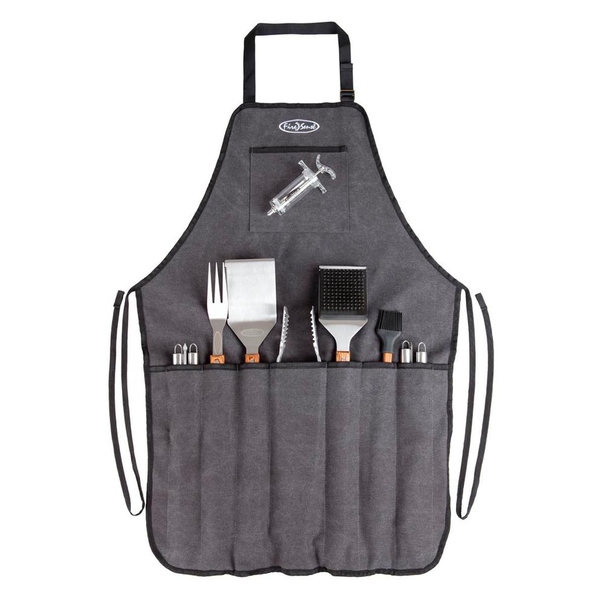 grilling tools and apron