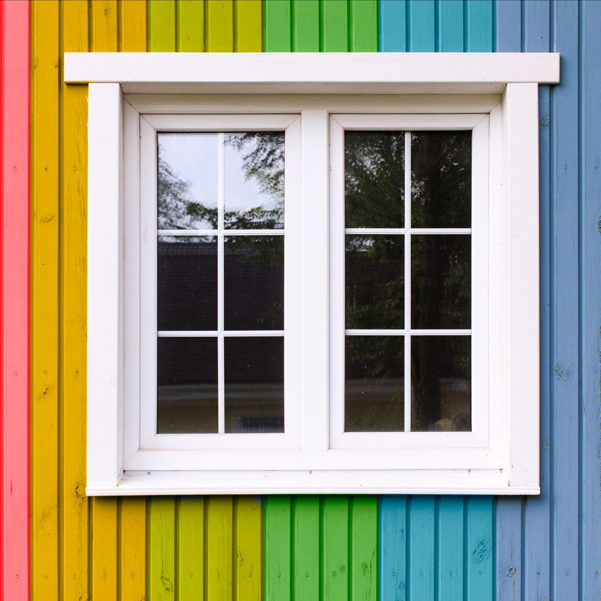 rainbow painted house
