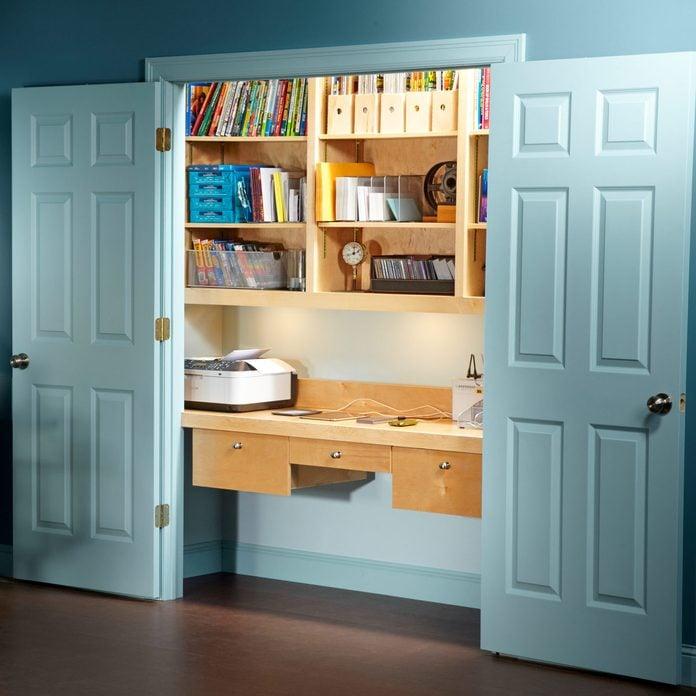 office in a closet desk