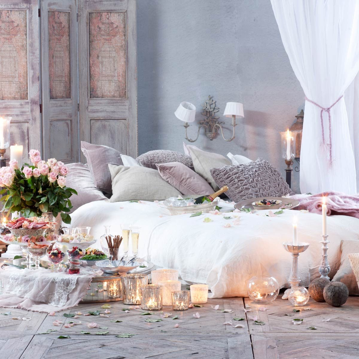 romantic candle lit bedroom Romantic meal in bedroom Gettyimages 555170255