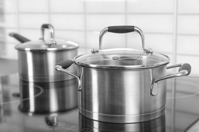 Metal saucepan on electric stove in kitchen