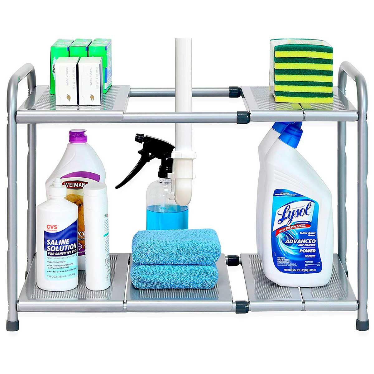two-tier shelf rack