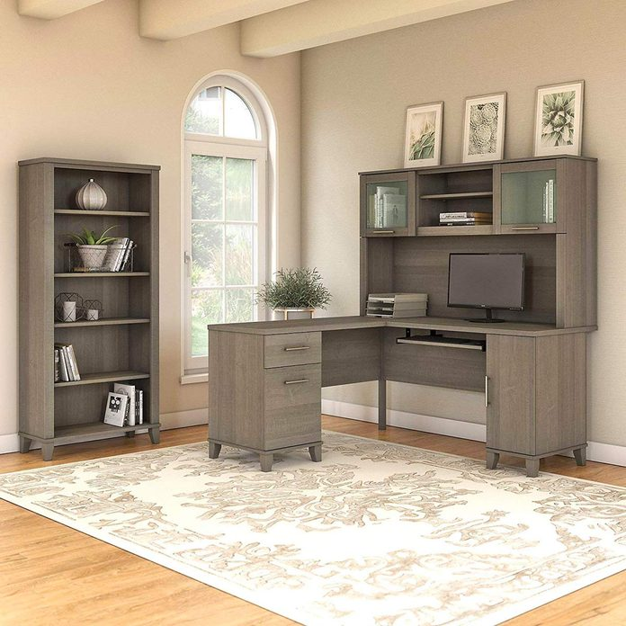 desk suite with bookshelf