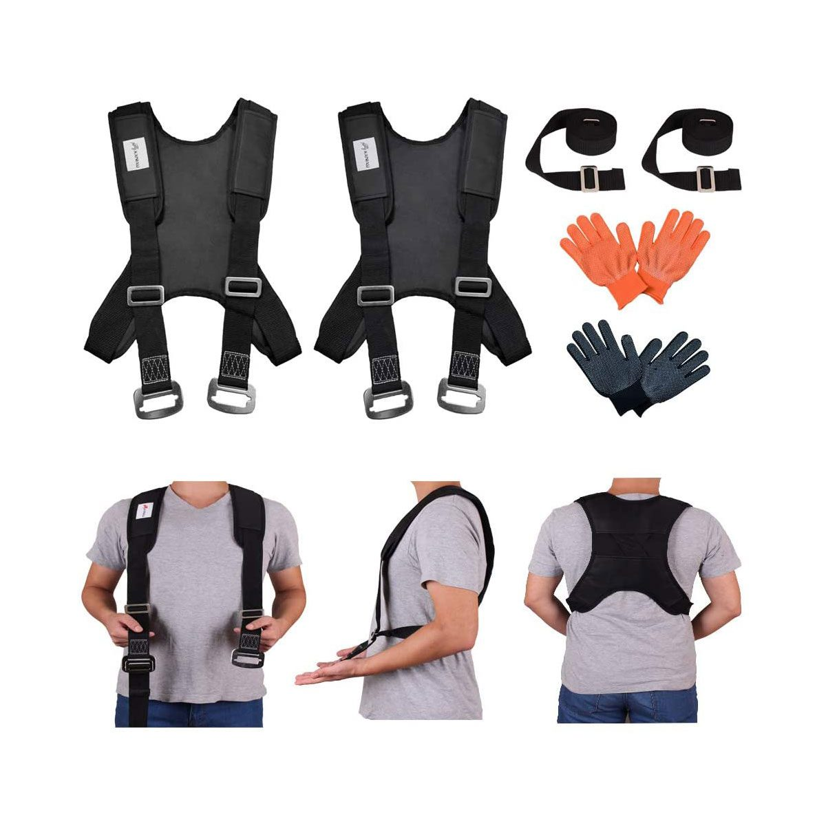 Photo showing how to wear the full-back moving brace