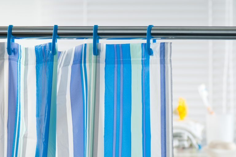 Close-up of a striped shower curtain