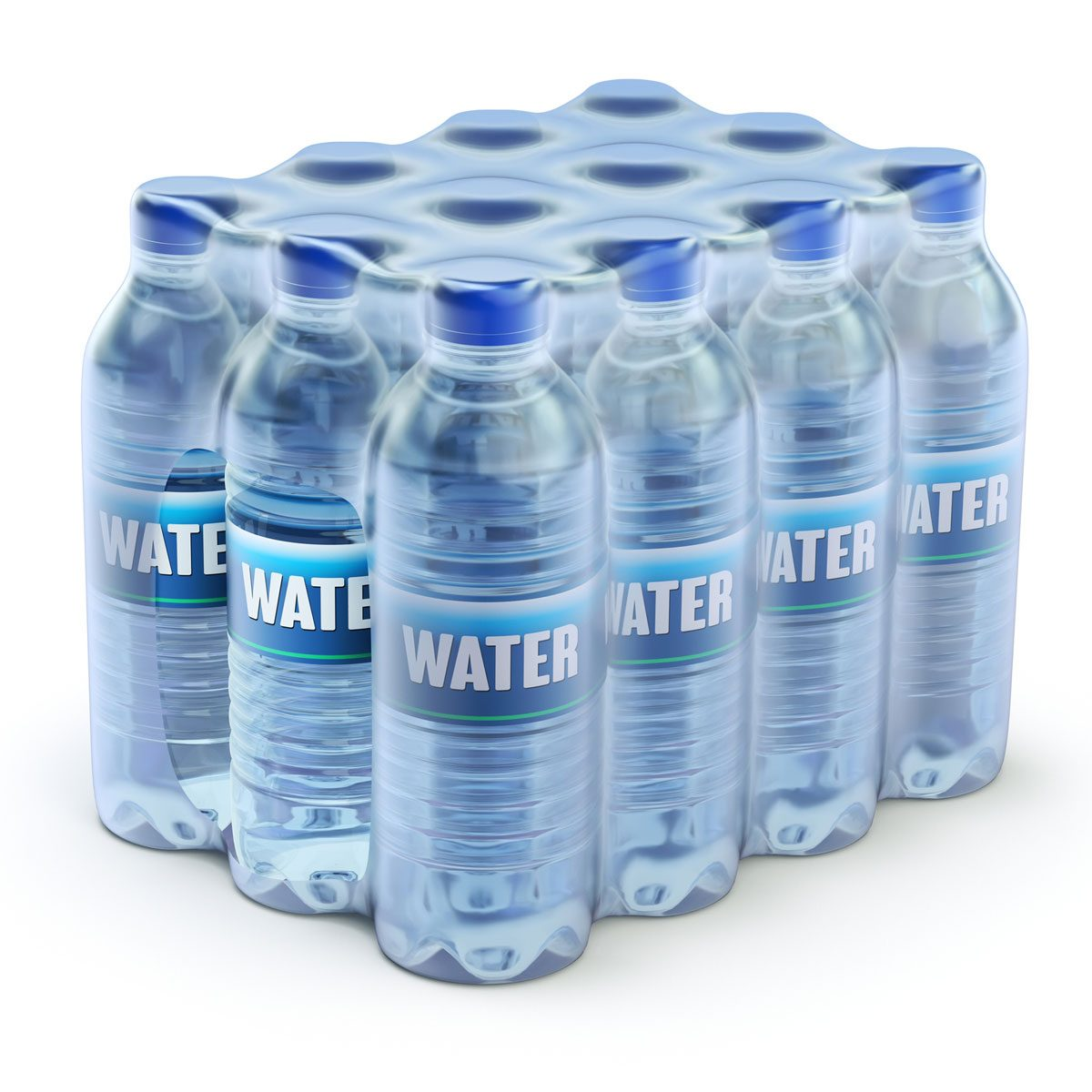 Package of a dozen water bottles