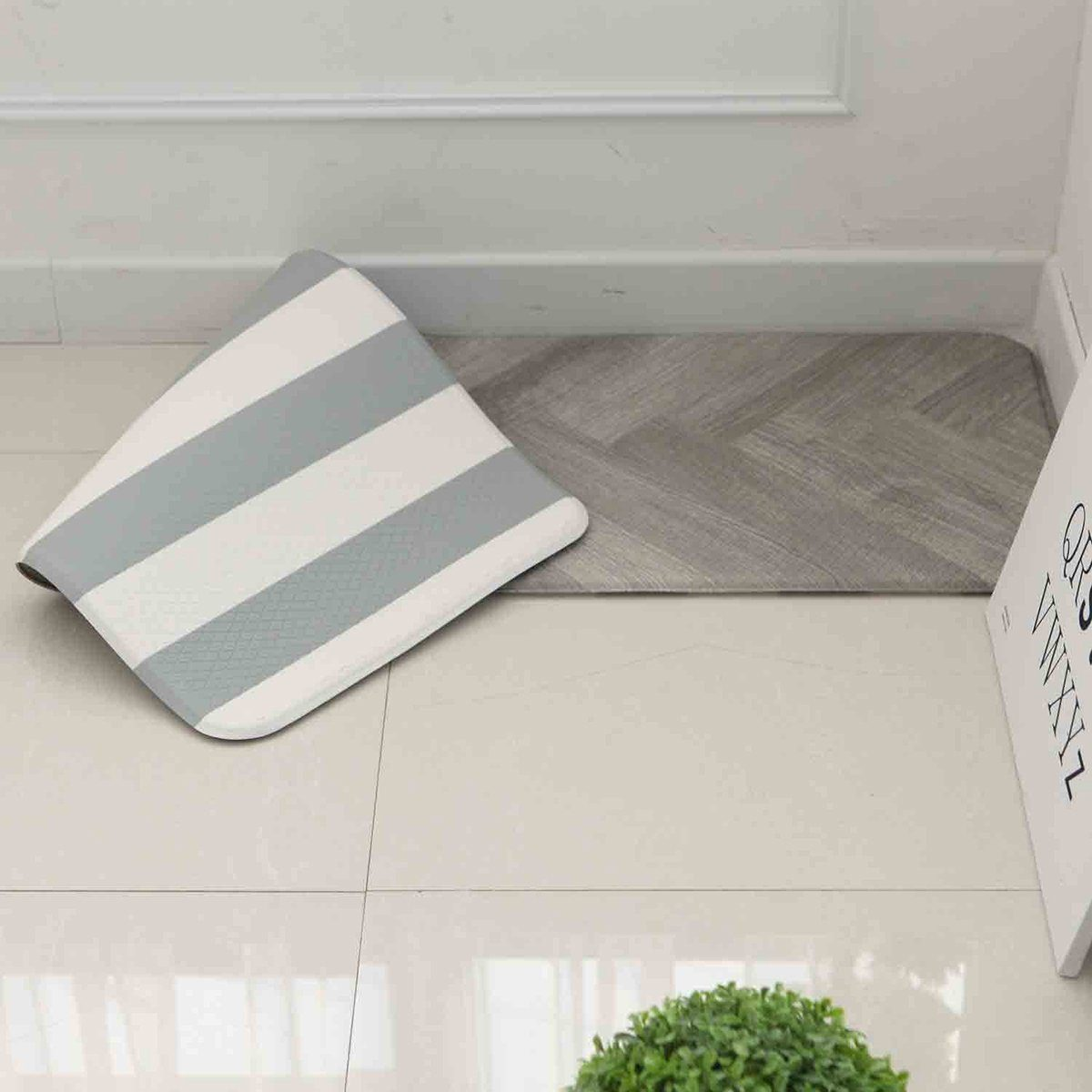 "Anti Fatigue Cushion Stylish Comfort Floor Foam Kitchen Mat, Office Mat, Waterproof, Easy to clean, Soft and Thick, Non Toxic, Reversible (Grey and Stripe, 17"" x 48"")"