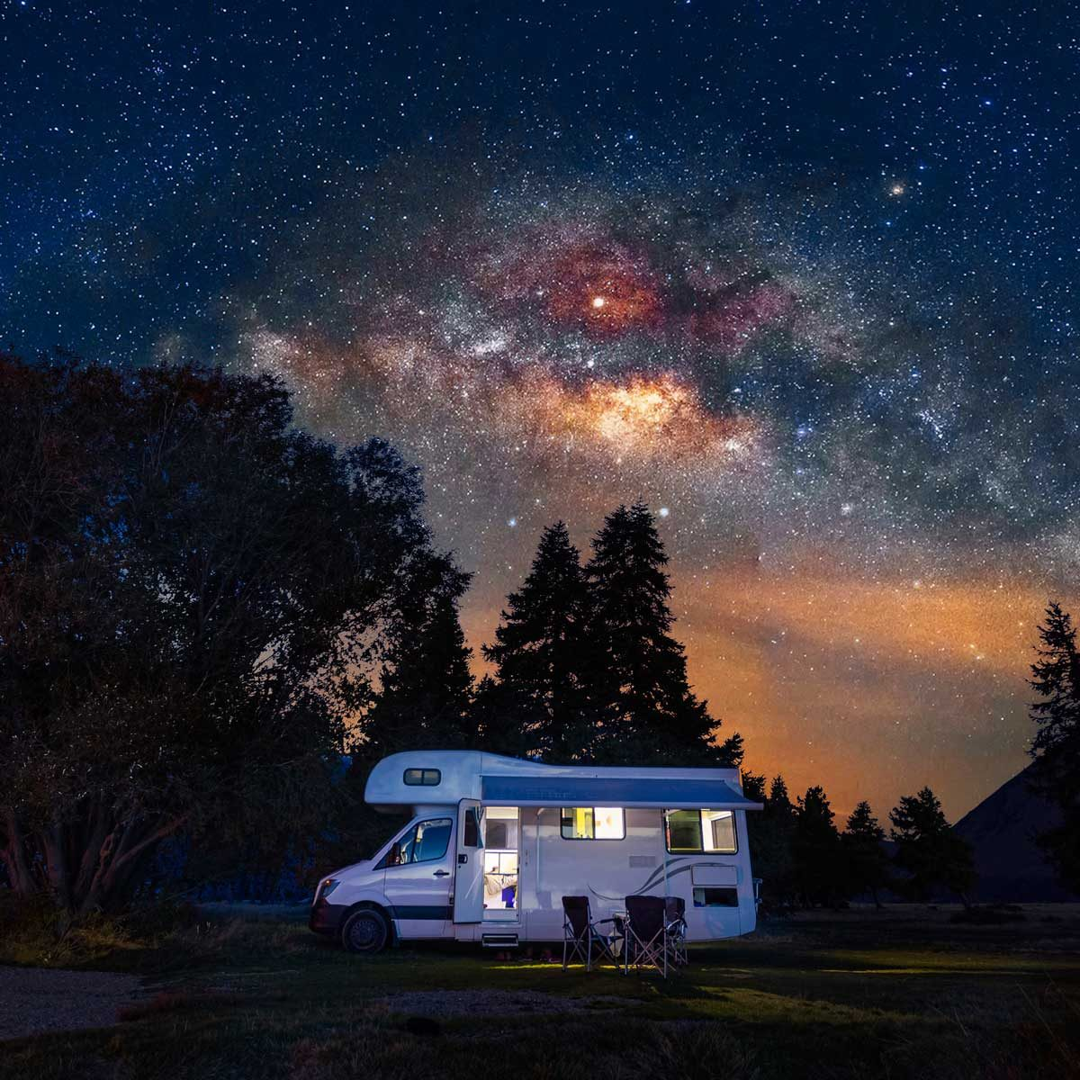 Camper under the starry sky