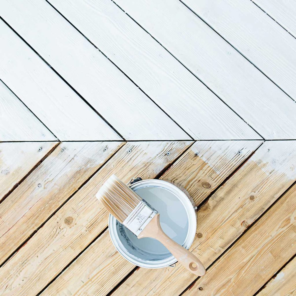 A deck with white paint