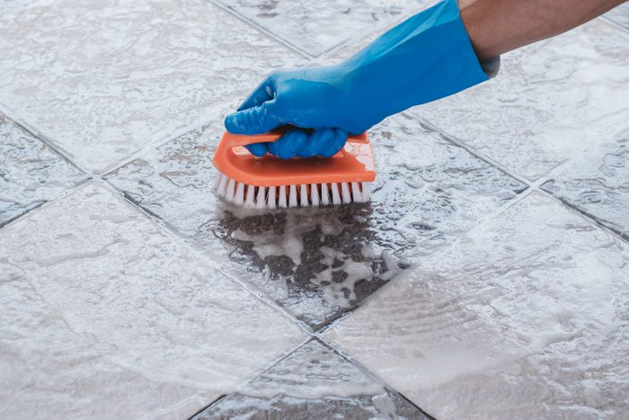 Cleaning on the tile floor.
