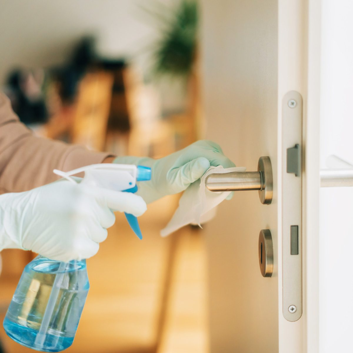 Woman cleaning a door handle with a disinfection spray and disposable wipe