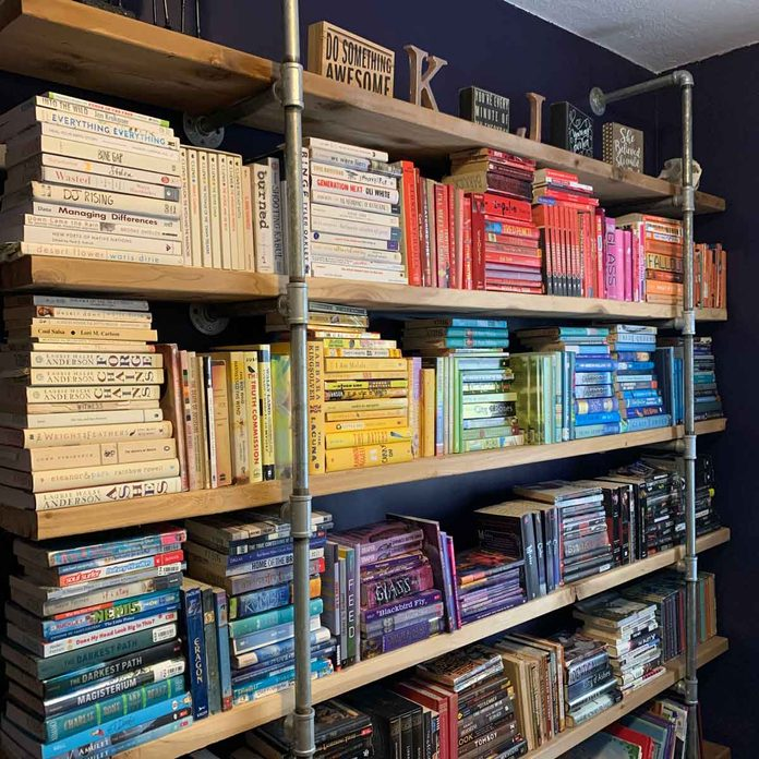 Bookshelf organized by color